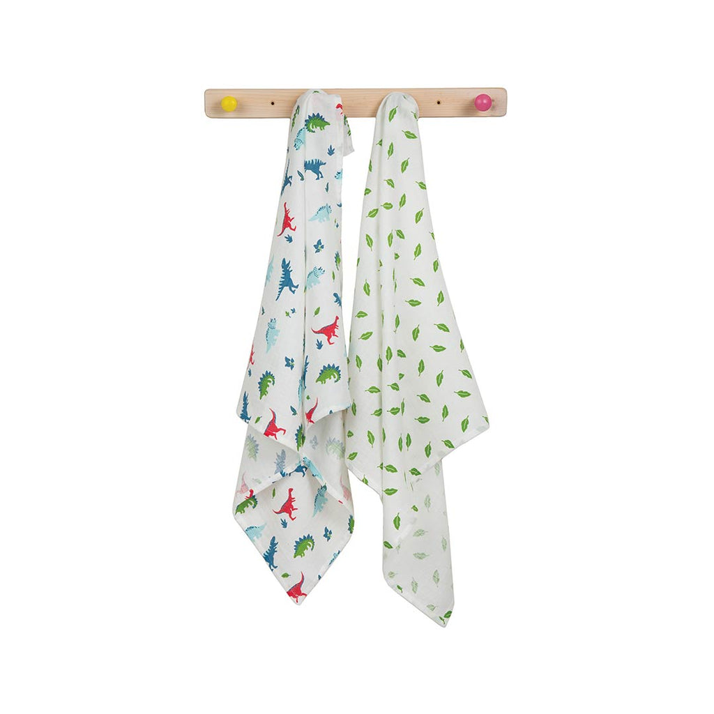 Frugi Lovely Muslins - Dino Multipack - 2 Pack-Muslin Squares- Natural Baby Shower