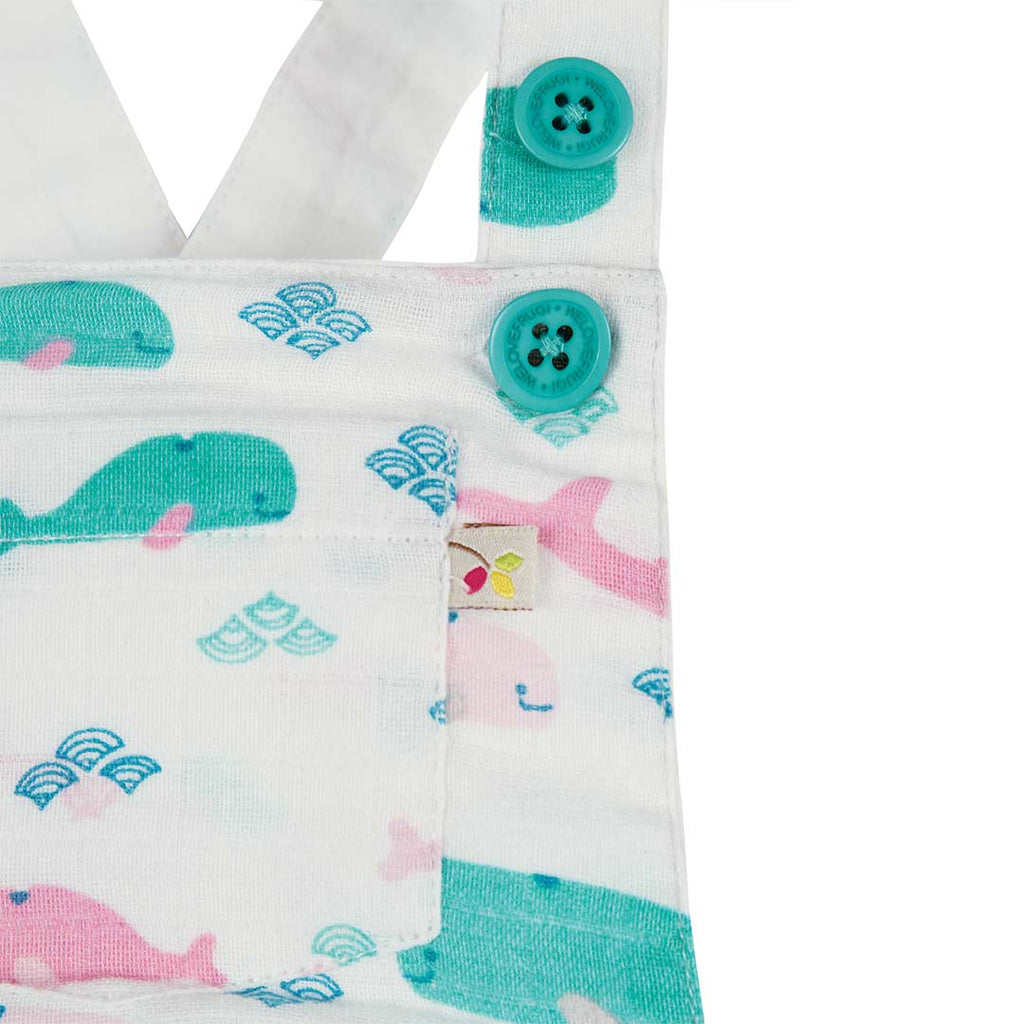 Frugi Mabel Muslin Dungaree - Little Whale Detail