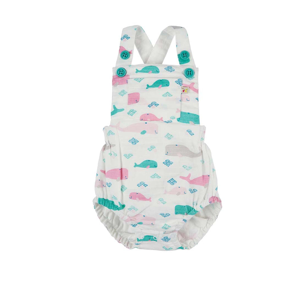 Frugi Mabel Muslin Dungaree - Little Whale-Dungarees- Natural Baby Shower