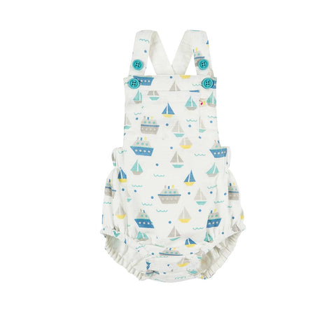 Frugi Mabel Muslin Dungaree - Summer Seas-Dungarees- Natural Baby Shower