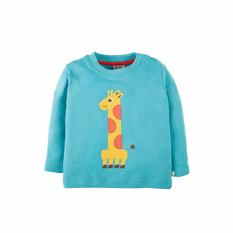 Frugi Magic Number Top - Aqua/Giraffe