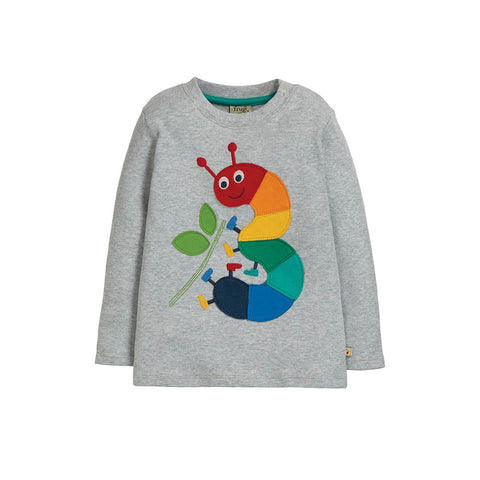 Frugi Magic Number Top - Grey Marl/Caterpiller-Long Sleeves-3-4y-Grey Marl/Caterpiller- Natural Baby Shower