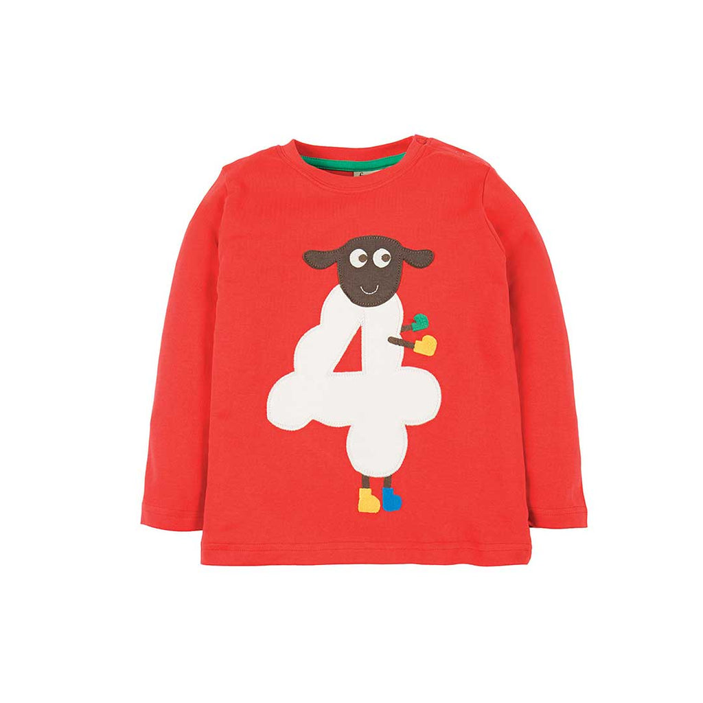 Frugi Magic Number Top - Tomato/Sheep-Long Sleeves- Natural Baby Shower