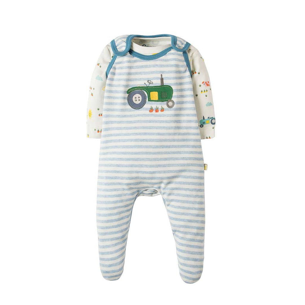 Frugi My First Outfit - Blue Marl Stripe