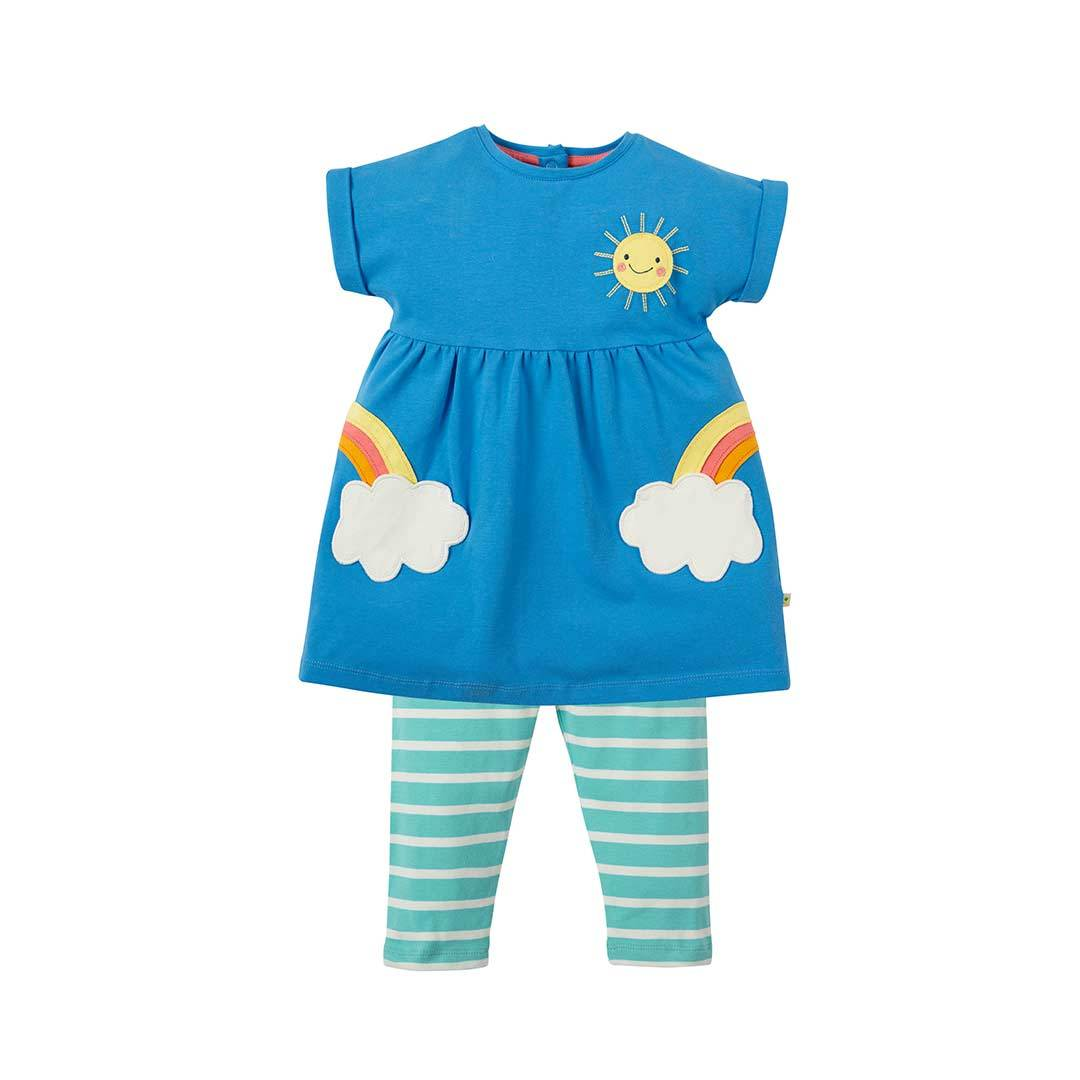 Frugi Olive Outfit In Sail Blue Clouds Natural Baby Shower