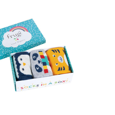 Frugi Paw-som Socks in a Box - Cosy Creatures Multi-Socks- Natural Baby Shower