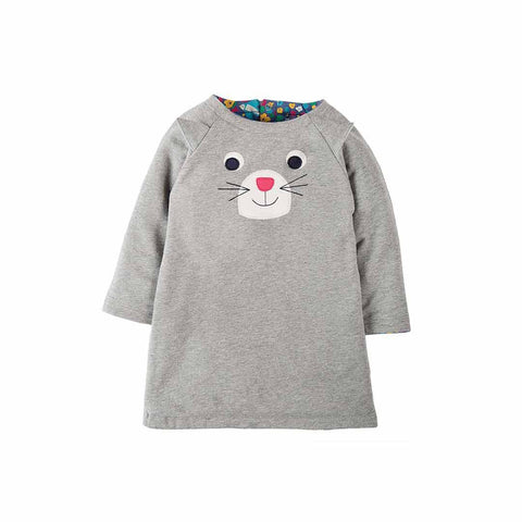 Frugi Peek A Boo Dress - Grey Marl/Cat