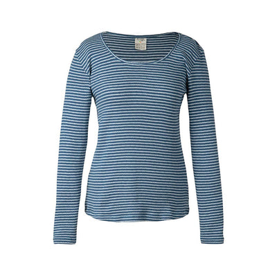 Frugi Petal Pointelle Top - Steely Blue Stripe-Maternity Tops- Natural Baby Shower