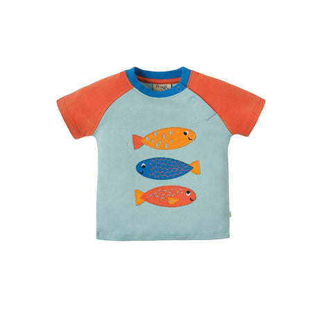 Frugi Renny Raglan T-Shirt - Tidal Blue/Fish-Short Sleeves- Natural Baby Shower