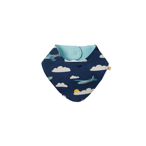 Frugi Reversible Dribble Bib - Marine Blue Scilly-Bibs-Marine Blue Scilly- Natural Baby Shower