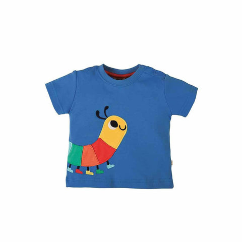 Frugi Scout Applique Top - Snail Blue/Caterpillar