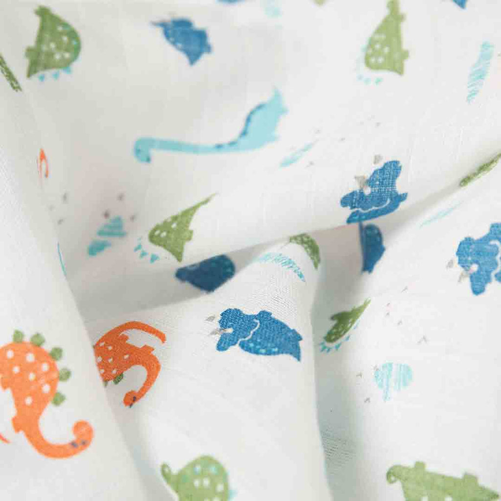 Frugi Scrumptious Muslin Swaddle - Dinky Dinos-Swaddling Wraps- Natural Baby Shower