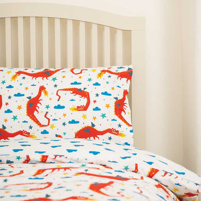 Frugi Sleepy Single Duvet Set - Multi Dragon Dream-Bedding Sets-One Size-Multi Dragon Dream- Natural Baby Shower