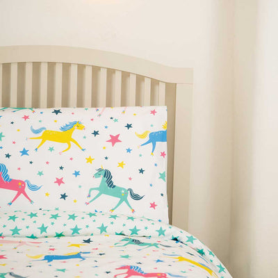 Frugi Sleepy Single Duvet Set - Unicorn Stars-Bedding Sets-One Size-Unicorn Stars- Natural Baby Shower
