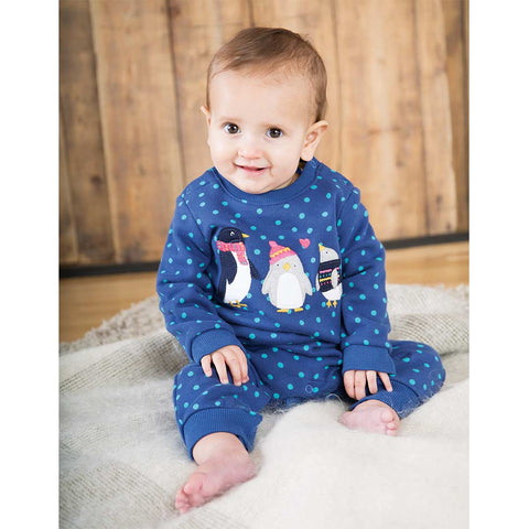 Frugi Snug And Cosy Romper - True Blue Hail-Rompers- Natural Baby Shower