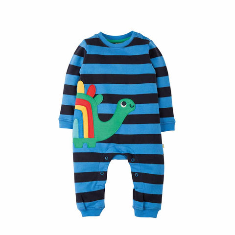 Frugi Snug and Cosy Romper - Sail Blue Bold Stripe/Dino