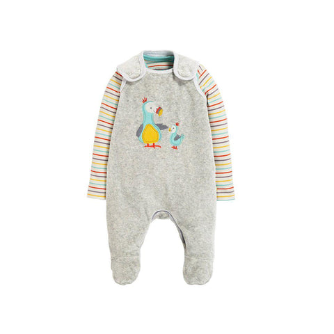 Frugi Snuggly Velour Outfit - Grey Marl/Dodos-Rompers- Natural Baby Shower