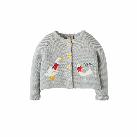 Frugi Sweet Swing Cardigan - Grey Marl Melange-Cardigans- Natural Baby Shower