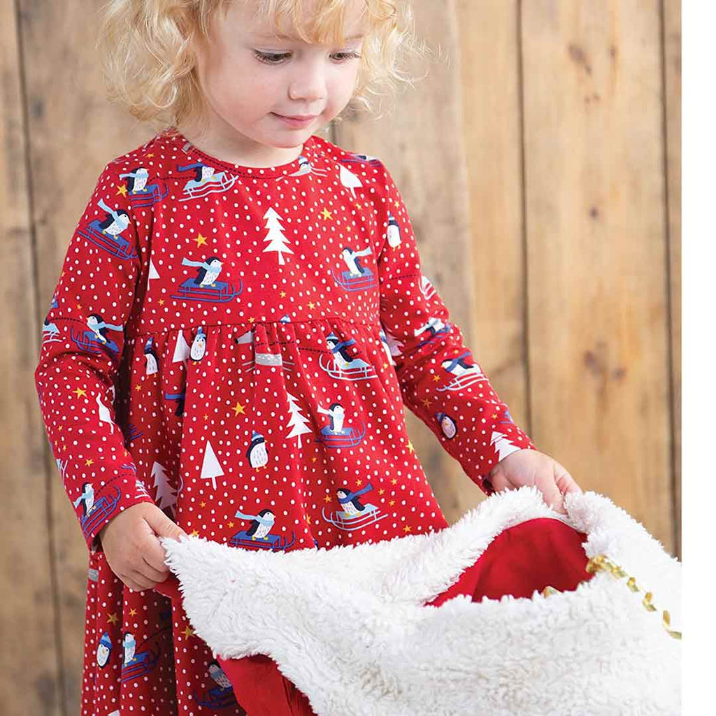 Frugi Tess Twirly Dress - Penguin Play-Dresses- Natural Baby Shower