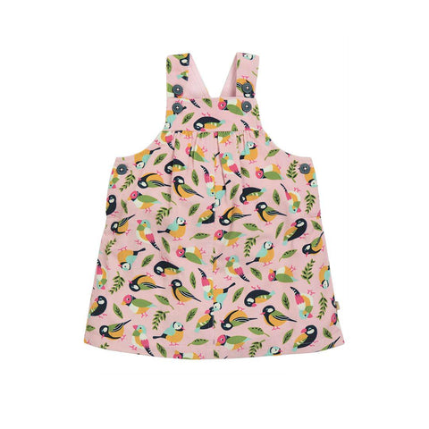 Frugi Tilly Cord Pinafore Dress - Sweet Pink Tweet-Dresses- Natural Baby Shower