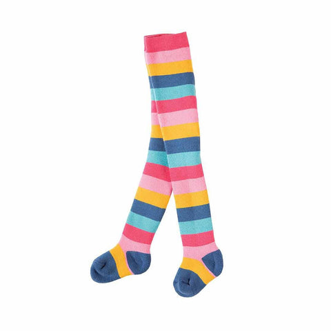 Frugi Toasty Tights - Pink Rainbow Stripe