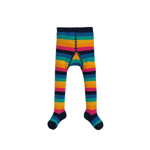 Frugi Toasty Tights - Rainbow Stripe-Tights- Natural Baby Shower