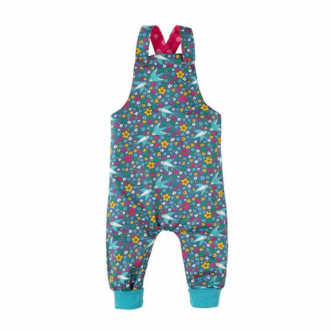 Frugi Topsy Turvy Dungarees - Raspberry Pop/Swallow Ditsy