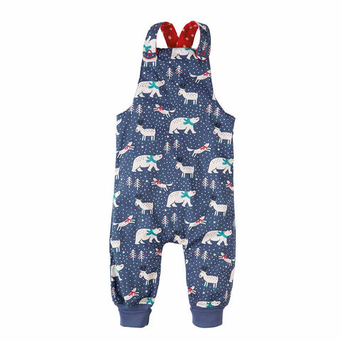 Frugi Topsy Turvy Dungarees - Tomato Stars/Blue Snowscape