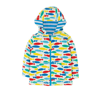 Frugi Reversible Towelling Hoody - Rainbow Fish-Hoodies- Natural Baby Shower