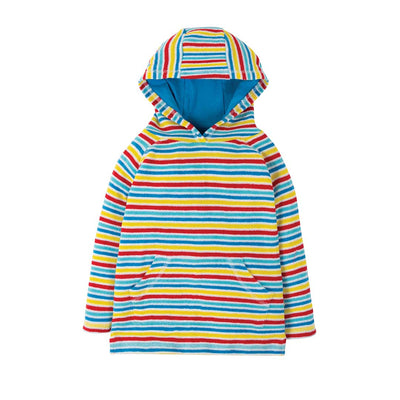 Frugi Towelling Hoody - Soft White Rainbow-Hoodies- Natural Baby Shower