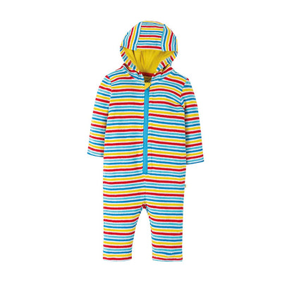 Frugi Towelling Snuggle Suit - Soft White Rainbow-Coats & Snowsuits- Natural Baby Shower