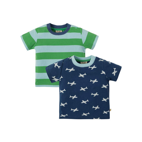 Frugi Tresco T-Shirts - Take Off - 2 Pack-Short Sleeves- Natural Baby Shower