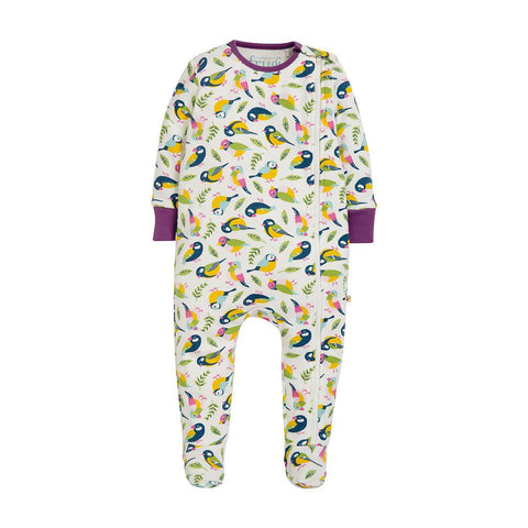 Frugi Zipped Babygrow - Soft White Tweet-Rompers- Natural Baby Shower