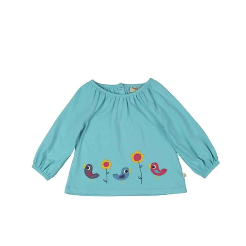 Frugi Annabel Applique Top in Cornish Sea/Birdies