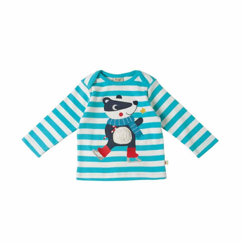 Frugi Bobby Applique Top in Cornish Sea Stripe/Badger
