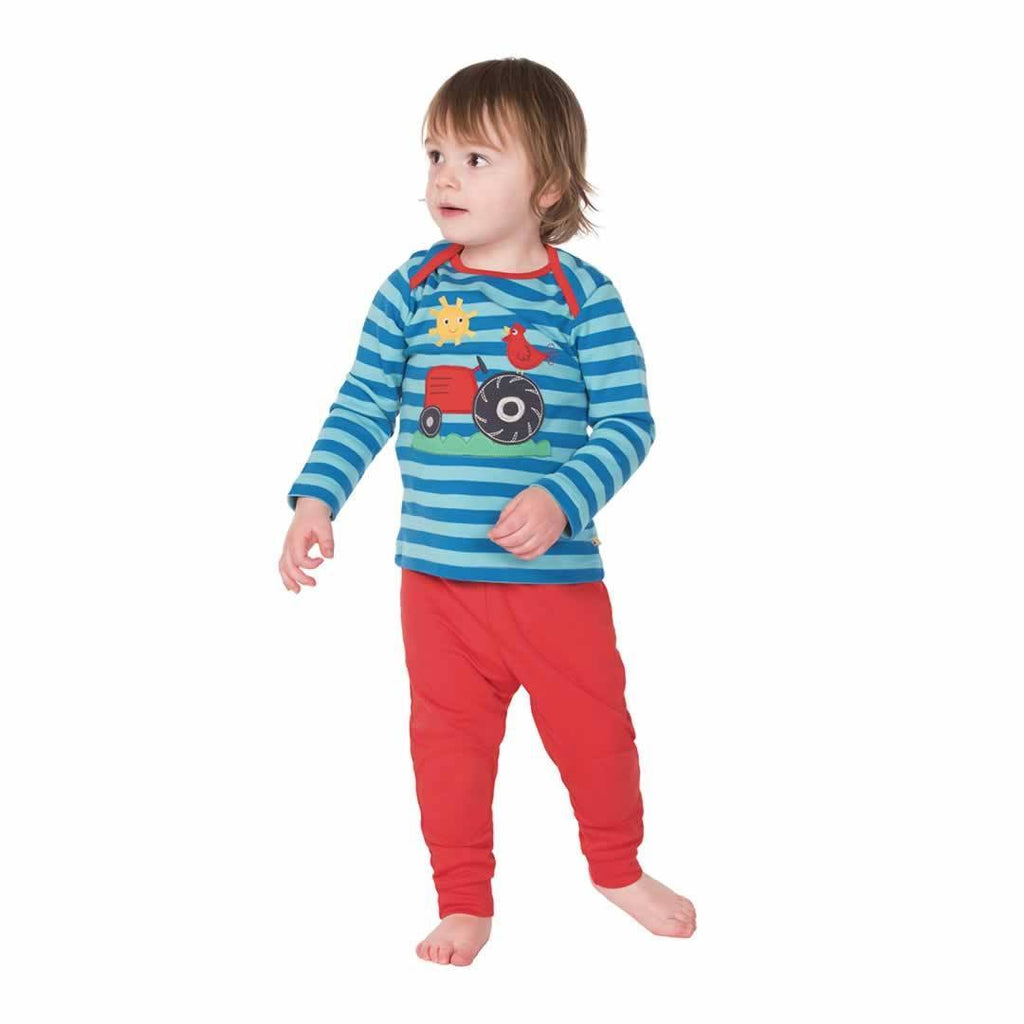 Frugi Bobby Applique Top Diver Blue/Tractor Lifestyle