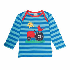 Frugi Bobby Applique Top Diver Blue/Tractor