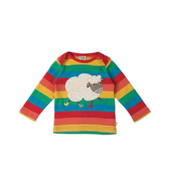 Frugi Bobby Applique Top in Happy Rainbow/Sheep