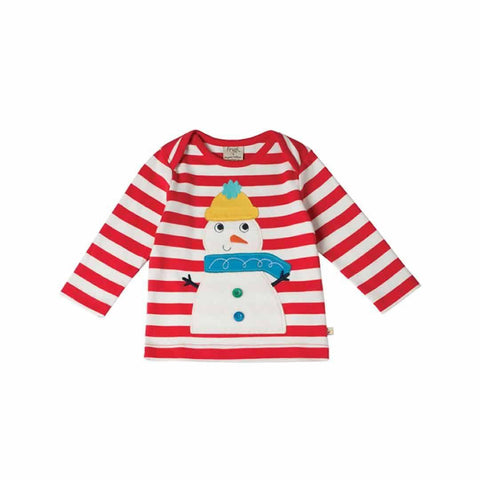 Frugi Bobby Applique Top in Tomato Stripe/Snowman