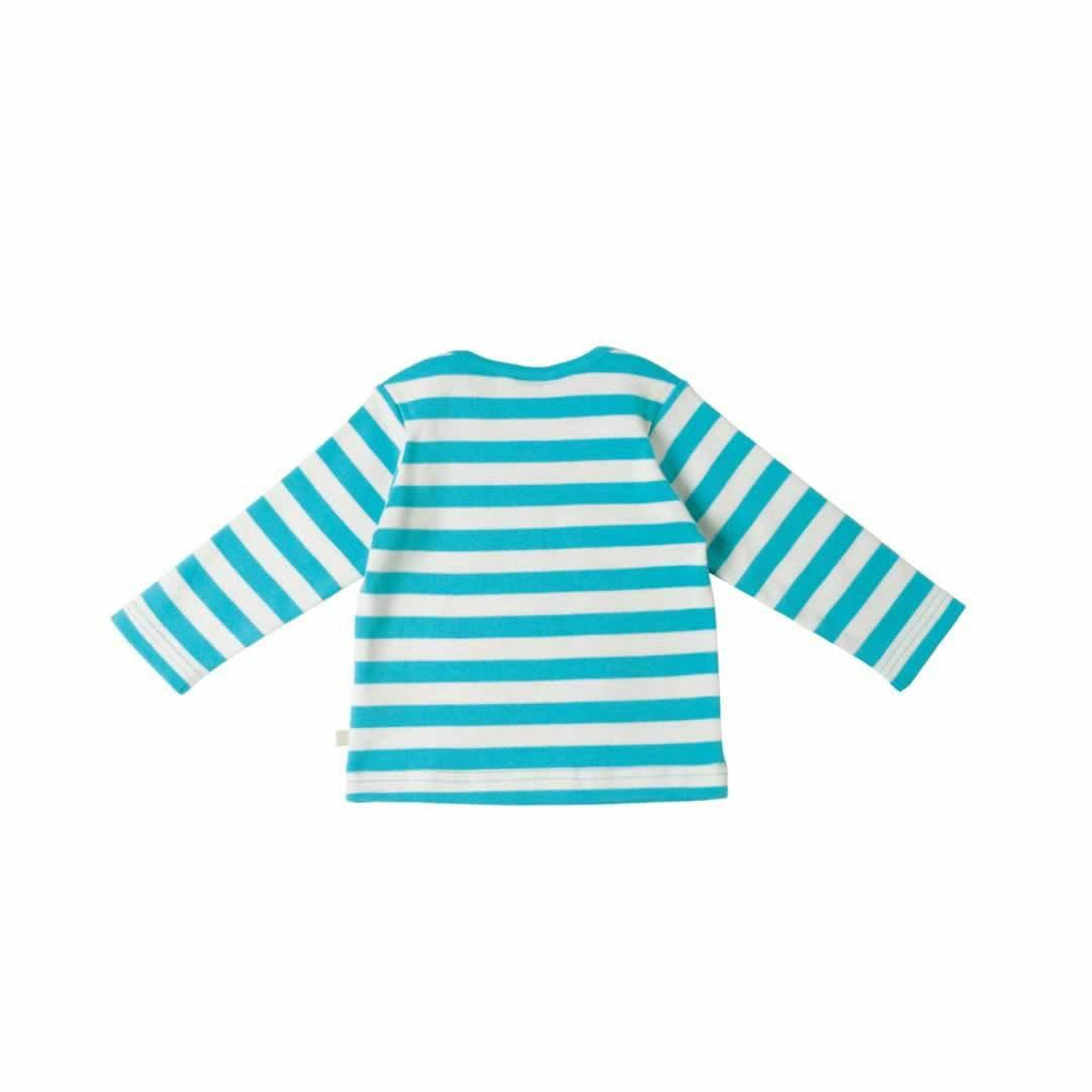 Frugi Bobby Applique Top Cornish Sea Stripe/Badger