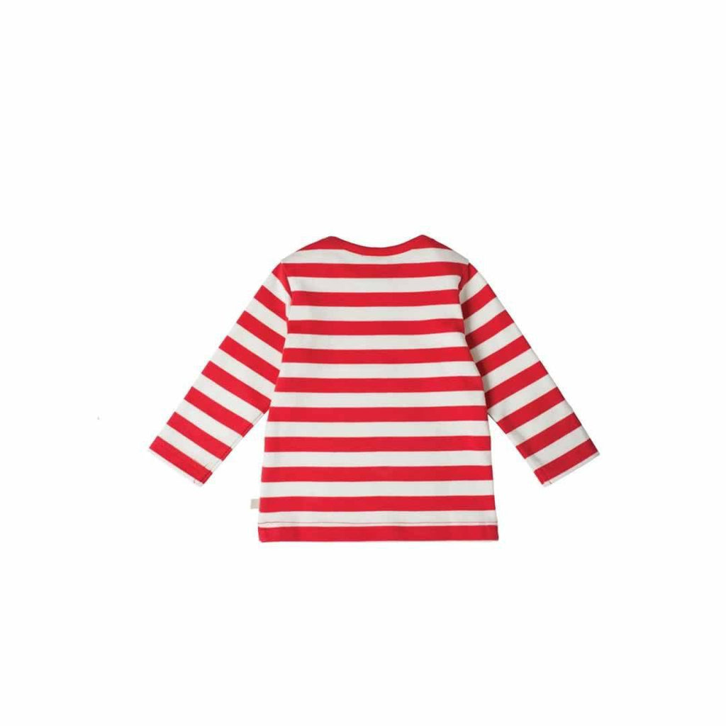 Frugi Bobby Applique Top Tomato Stripe/Snowman