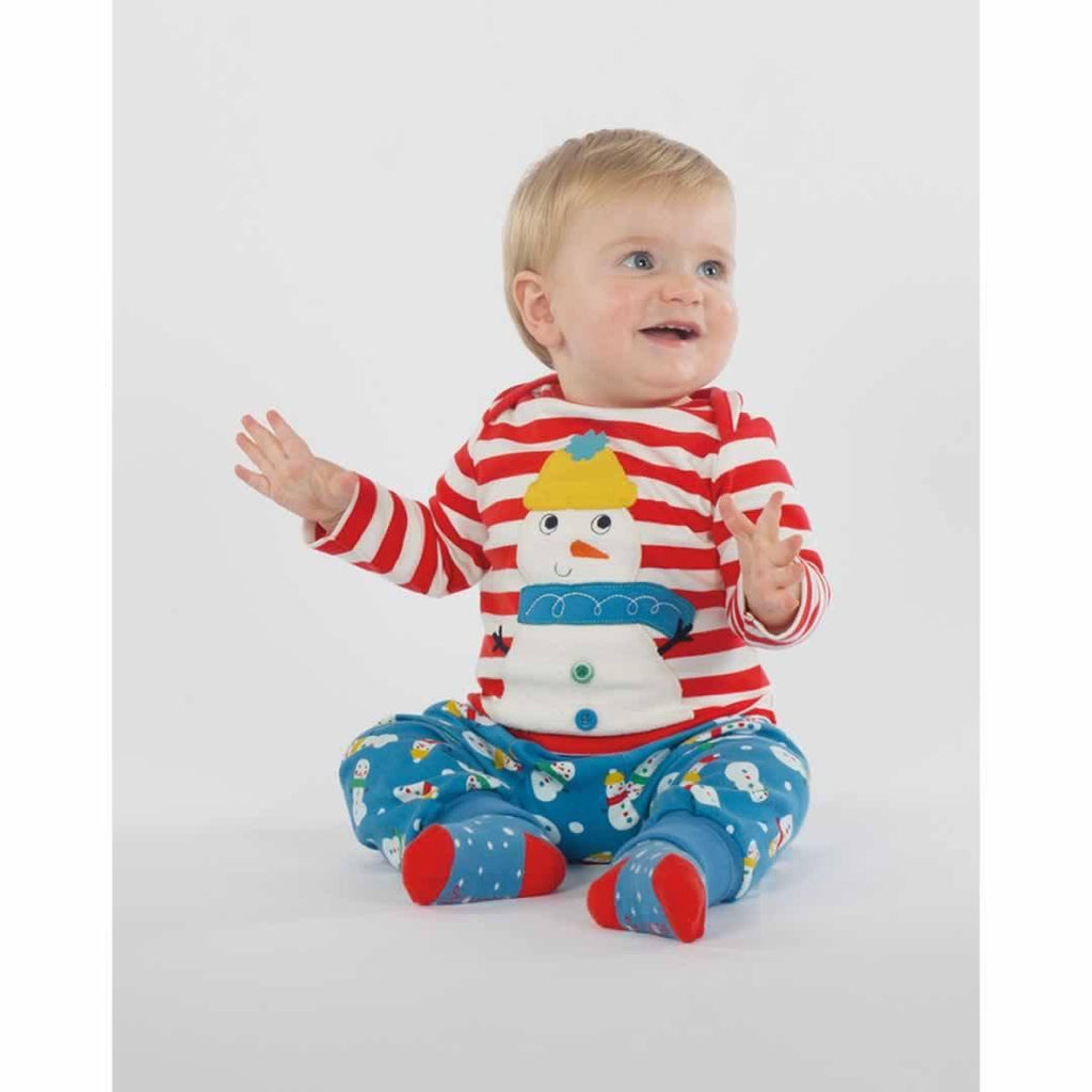 Frugi Bobby Applique Top - Tomato Stripe/Snowman Lifestyle