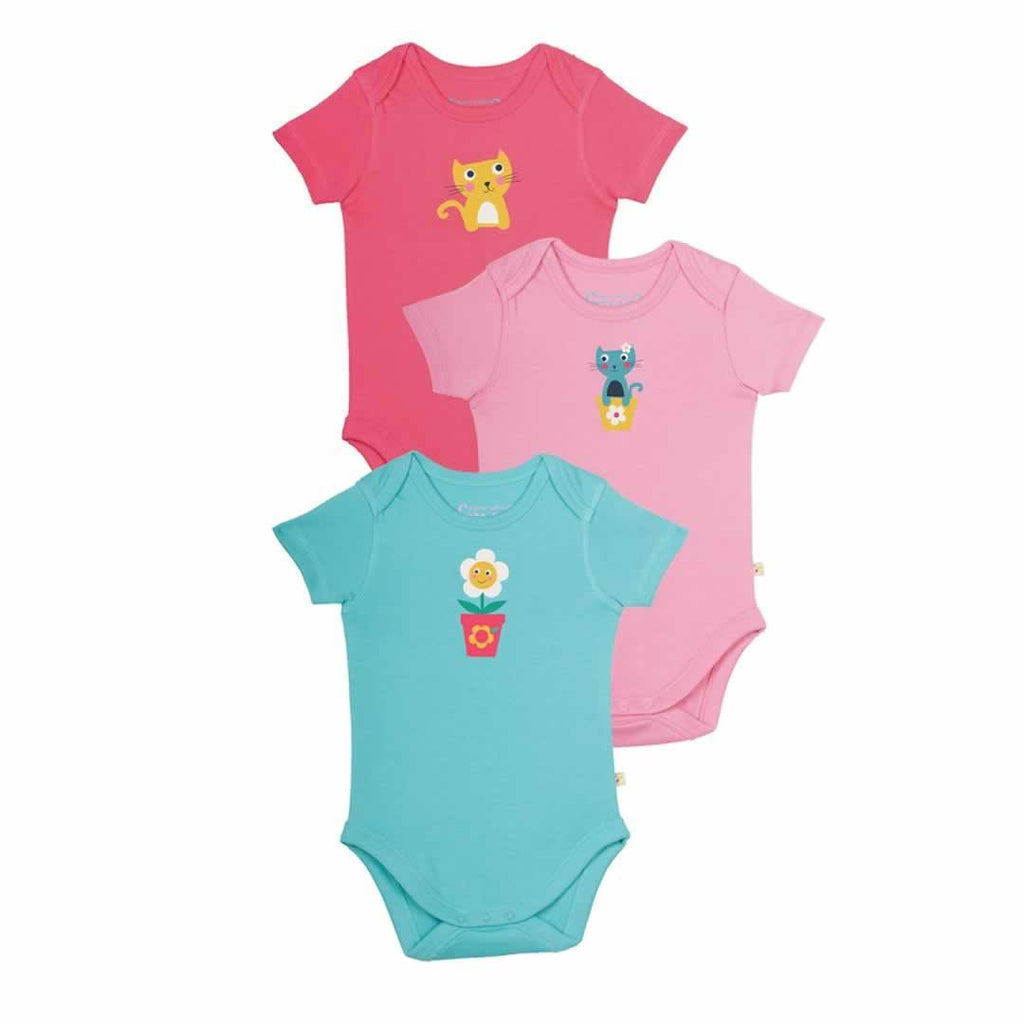 Frugi Bodies Cat Friends 3 Pack