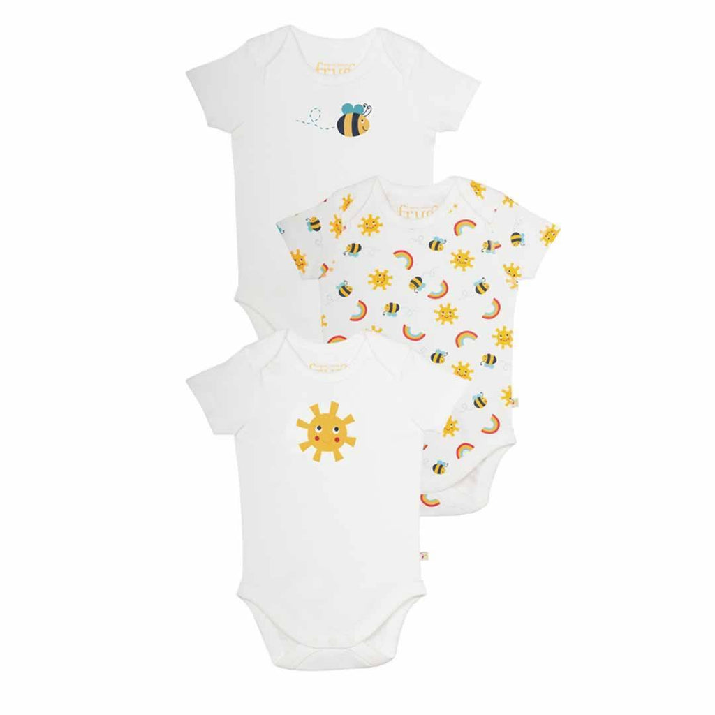 Frugi Bodies Sunny Buzy Bee 3 Pack