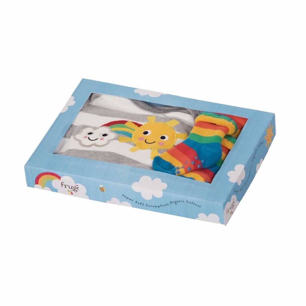 Frugi Bubbly Baby Gift Set Grey Marl Stripe Box