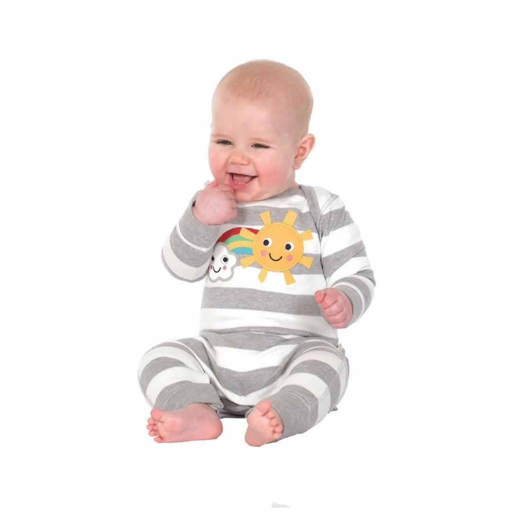 Frugi Bubbly Baby Gift Set - Grey Marl Stripe Lifestyle
