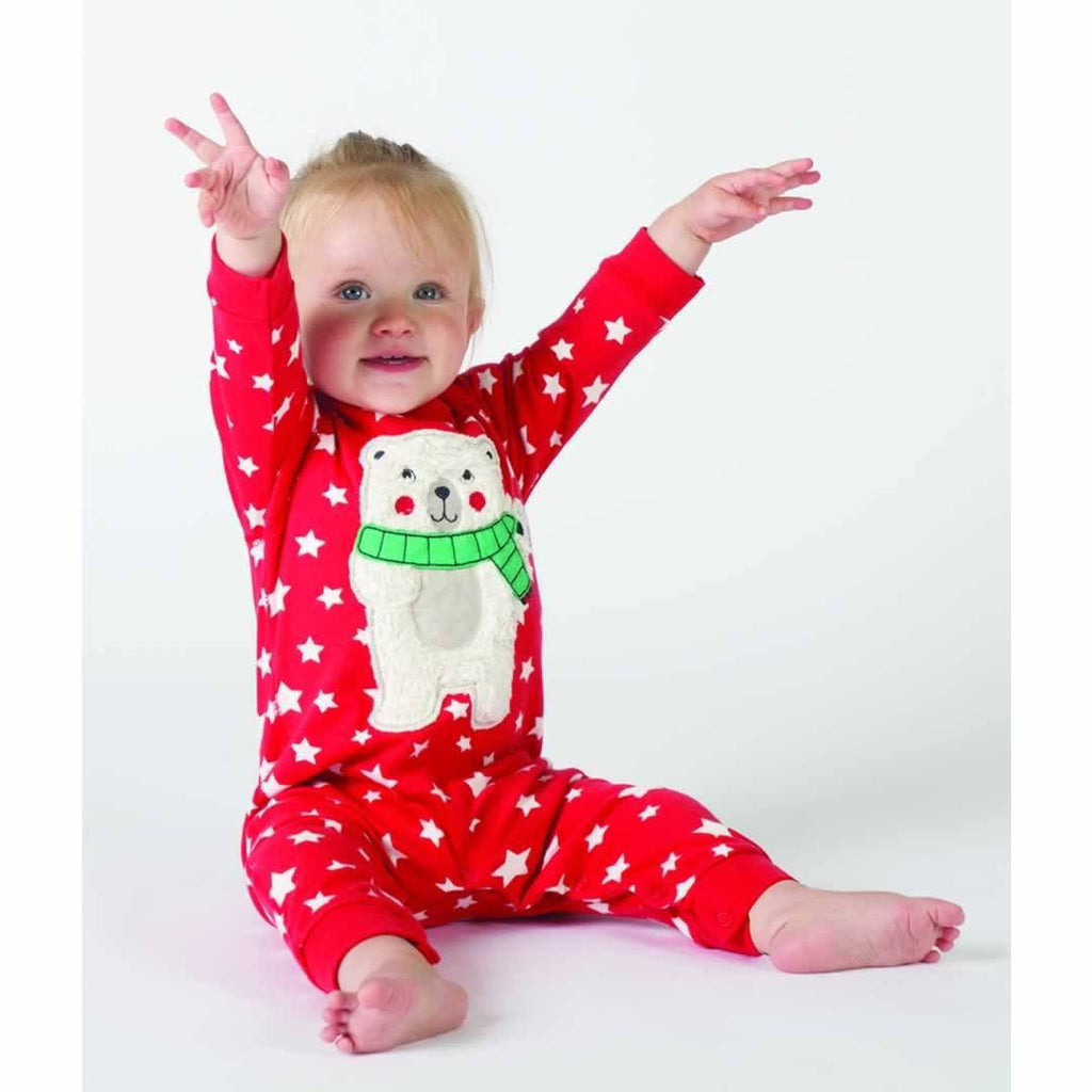 Frugi Charlie Romper - Tomato Twinkle Star/Polar Bear - Playsuits & Rompers - Natural Baby Shower
