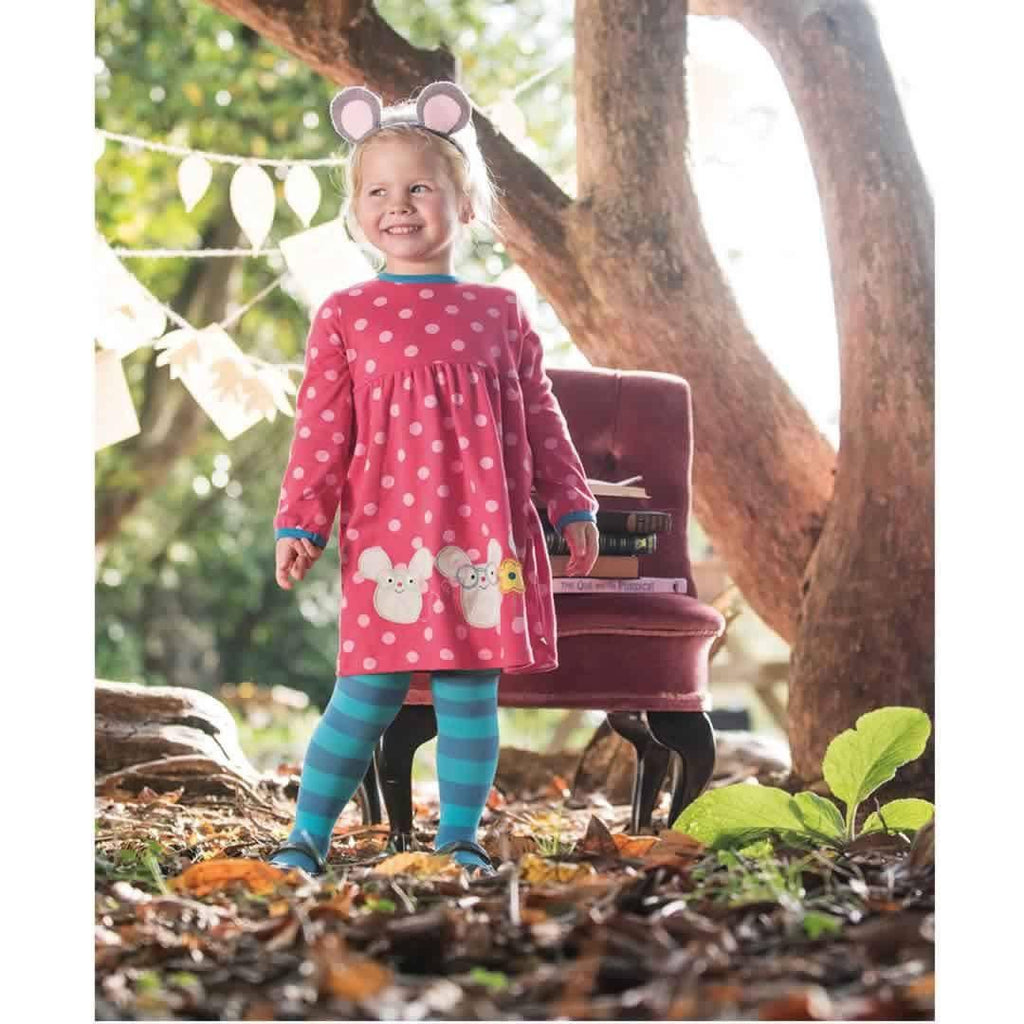 Frugi Crawl Away Tights - Harbour Blue/Mouse Lifestyle