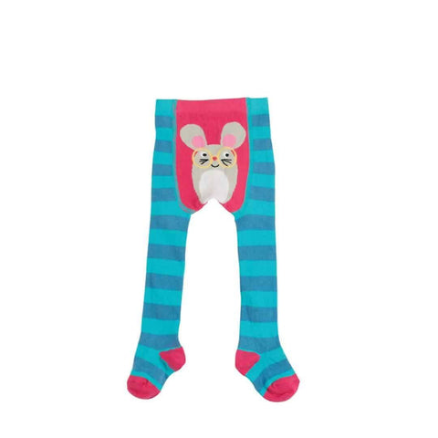 Frugi Crawl Away Tights in Harbour Blue/Mouse