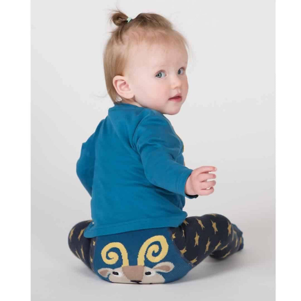 Frugi Crawl Away Tights - Navy/Goat Lifestyle